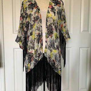 Design Lab Floral Kimono with Fringe